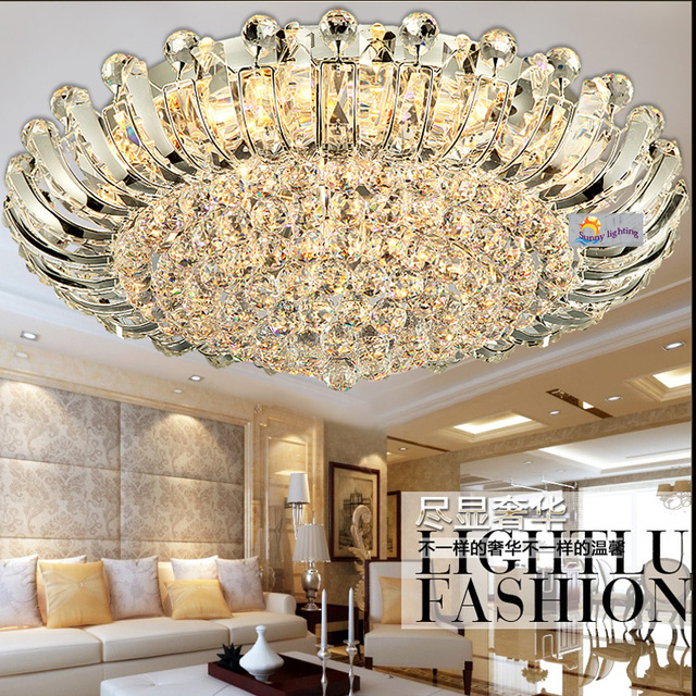 100% Crystal Surface Ceiling Lamp Sunflower Large Led Luminaria Modern  Luxury Ceiling Lights Hotel Living Part 55