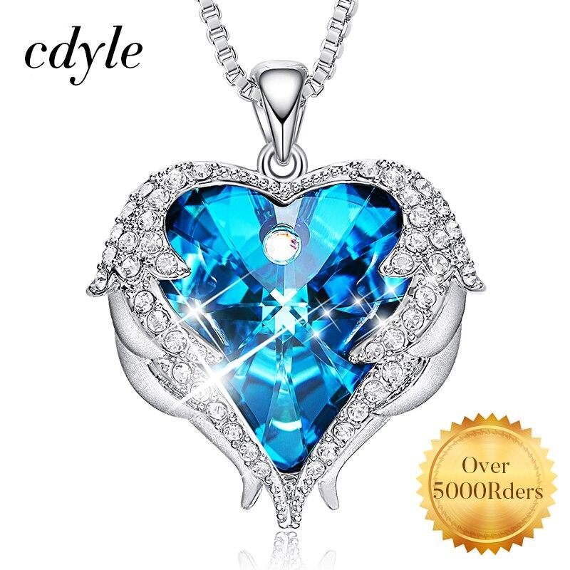 Cdyle alas de Ángel collar de cristales de Swarovski, collares de joyería de moda para mujer Corazón de Ángel regalos Día de la madre