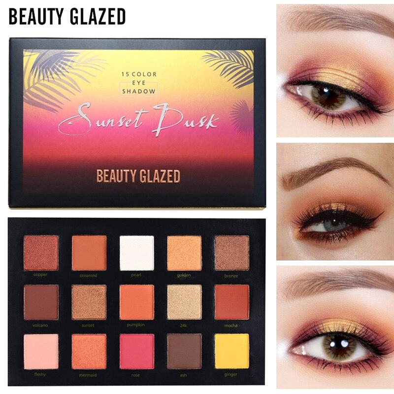 BELEZA VITRIFICADA 15 Cores Paleta de Sombra Make up Long-lasting fácil de Usar Maquiagem Paleta paleta Da Sombra de Olho Fosco de sombra