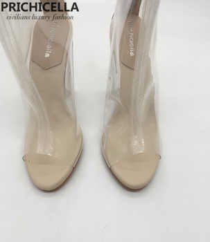 prichicella women\'s fashion transparent open toe high heel summer bootes sandals