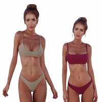 DA HAI 2018 Sexy Bikini Set Solid Color Swimwear Brazilian Bikinis Women Beach Wear Bathing Suit
