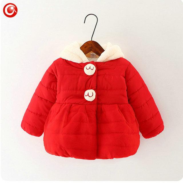 Abrigo de invierno Baby Girls Cartoon Rubbit Espesar Niños Niña Nieve Polar Chaqueta Con Capucha de Algodón Acolchado Outwear Ropa de Navidad 2016