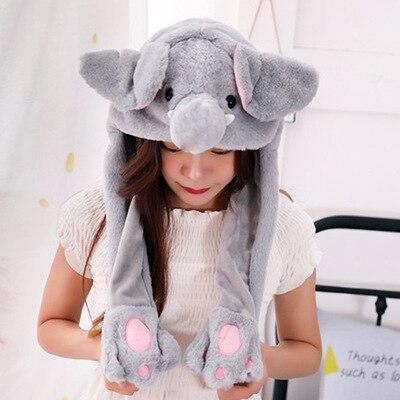 Новинка, Мультяшные шапки с подвижными ушками, милый Игрушечный Кролик, шапка с подушкой безопасности, Kawaii, забавная шапка для девочек, детская плюшевая игрушка, рождественский подарок - Цвет: Grey elephant