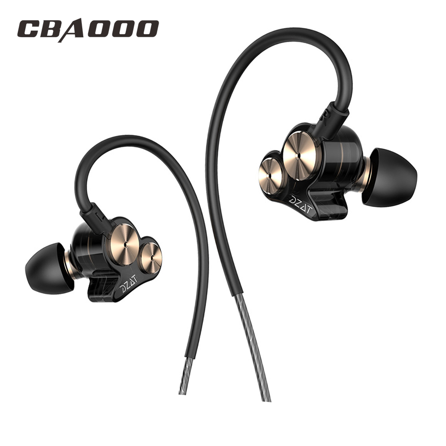Newest Dual Driver In Ear Earphone Bass Subwoofer Dzat DT05 Earphone HIFI DJ Monito Running Sport Earphone Headset Earbud qkz kd8 dual driver noise isolating bass in ear hifi earphone for phone wired stereo microphone control headset for music
