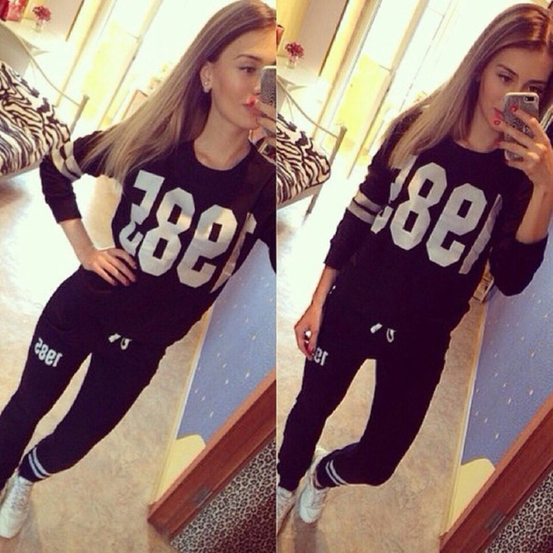 Figure Print 1985 2 Two Piece Set Top And Pants Black Tracksuit Sportswear Casual Loose Women