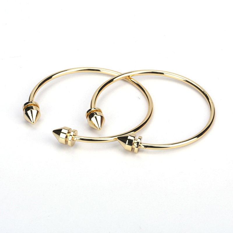 New Simple Trendy Pure Gold Color Cube Cone End Bead Charms Adjustable Bracelet Bangle Cuff For Unisex Couple Watch Accessory Buy One Get One Free Jewelry & Accessories