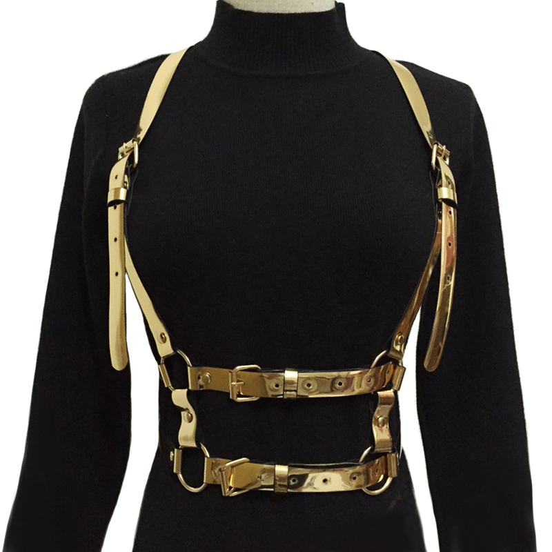 2018 new Women Sexy Harajuku Garters color Leather Body Bondage Cage Sculpting Harness Waist   Belts   Female Straps Suspenders   Belt