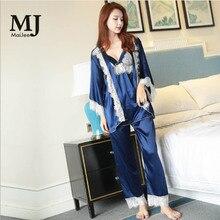 MJ080A 4 Pic Satin Pajamas Short Pant Long Pajama Set Silk Pizama Damska Pijama Mujer Feminino Pigiama Donna Pijamas