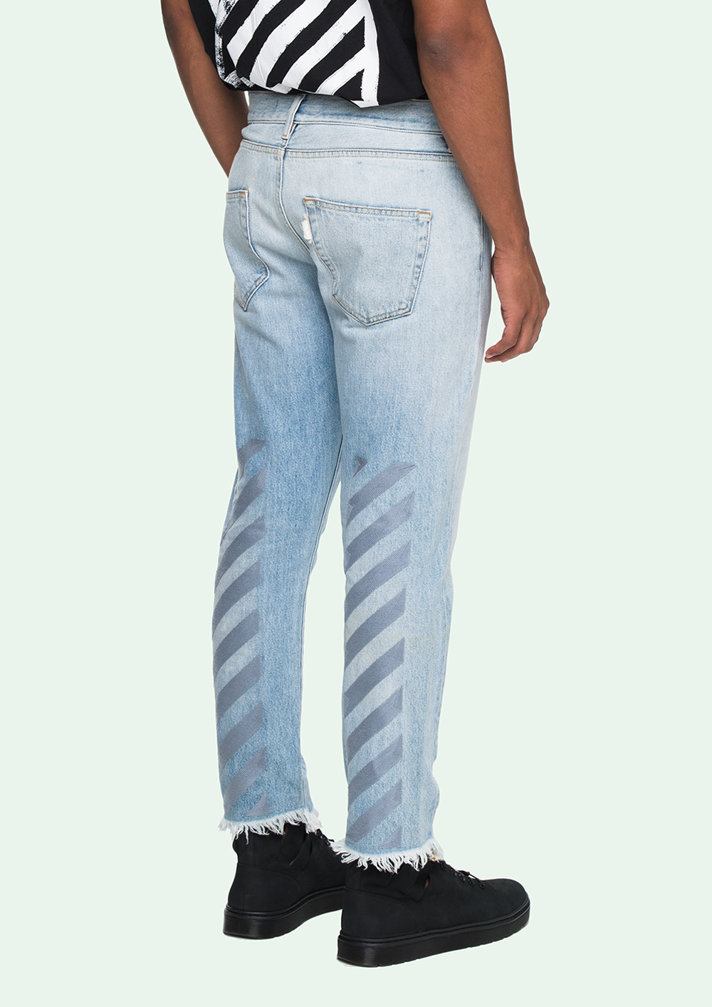 ФОТО 17ss MENS TOP BRAND OFF WHITE  LIGHT BLUE  BUTTON AND ZIP CLOSURE FIVE POCKETS JEANS