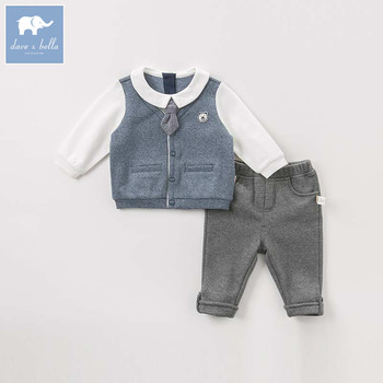DBW8557 dave bella baby boy clothes children long sleeve clothing sets kids boutique outfits boys with tie gentleman sets