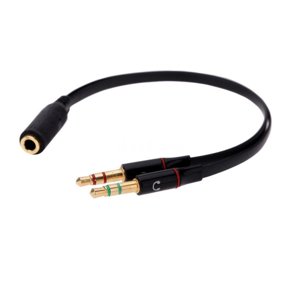 Black 3.5mm Y Splitter 2 Jack Male To 1 Female Headphone Mic Audio Adapter DI3K