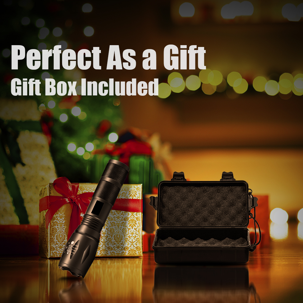 Купить с кэшбэком Gift Box High Power LED Flashlight Kit V6/L2/T6 18650 Torch Set Adjustable Waterproof Lanternas Zoom 5 Modes for Camping Fishing