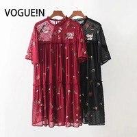 VOGUEIN New Womens Sequins Thêu Hoa Ngắn Tay Áo Sheer Mini Dress 2 Màu Sắc Kích Thước SML Bán Buôn