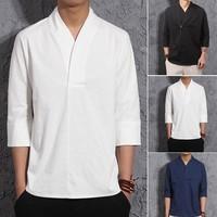 Summer V Collar Casual Linen Mens T Shirt National Style Three Quarter Sleeve Loose T Shirt Retro Thin Men Shirt