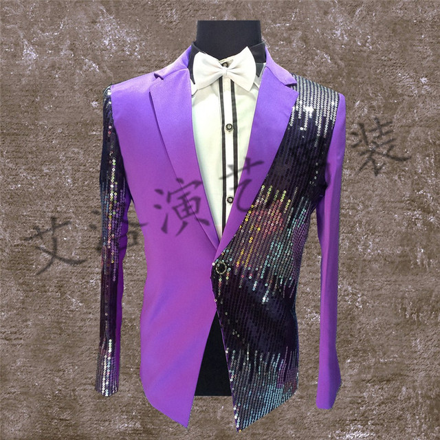 The new nightclub male singer costumes sequins small suit Evening bar stage clothing personality customization