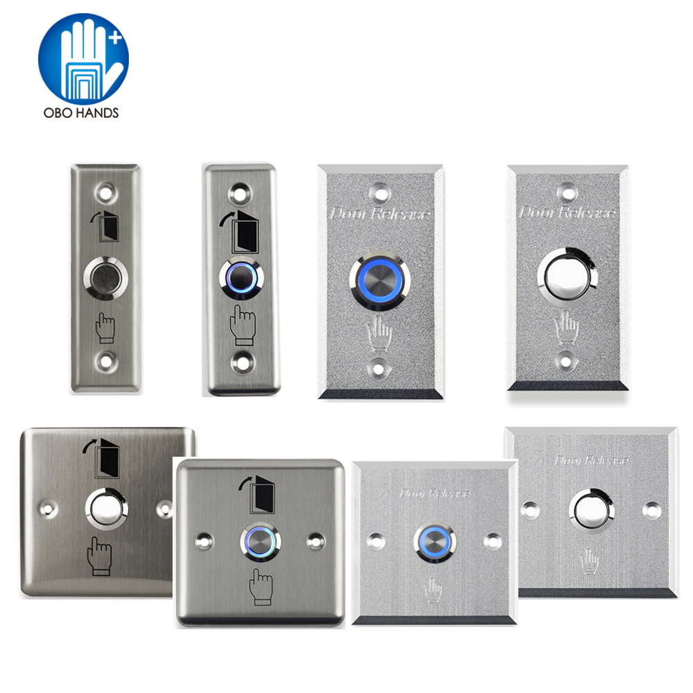 Metal Stainless Switch Door Exit Button Push To Open Home Release Button With LED Light For Access Control Lock System NO/COM