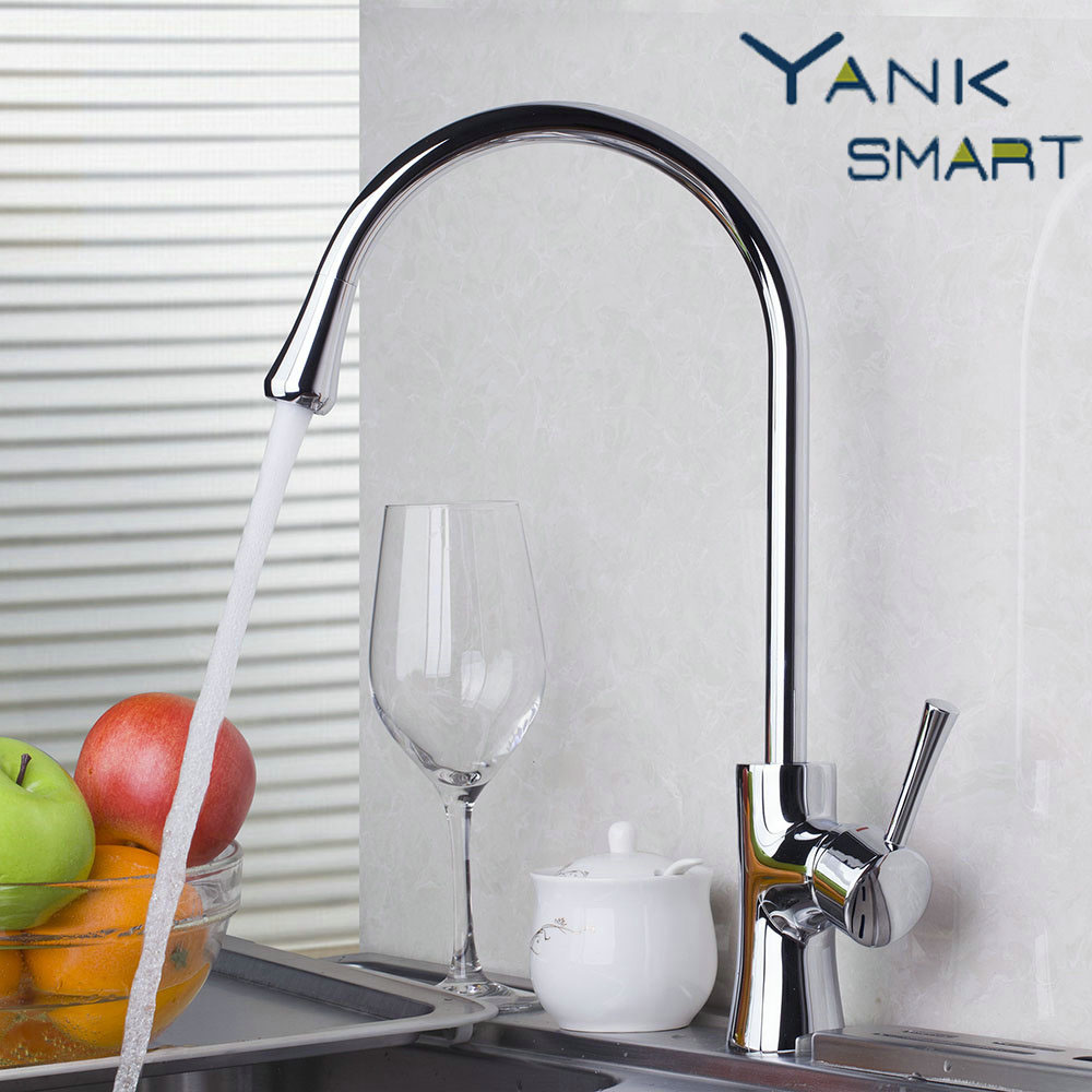 Wholesale And Retail Chrome Solid Brass Single Hole Kitchen Sink Faucet Swivel Spout Vessel Mixer Tap