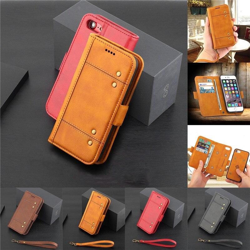 Роскошные Винтаж 2 в 1 съемный кожаный чехол для iPhone 6 6S флип бумажник визитница Стенд Крышка для Apple iPhone 6 Телефонные чехлы
