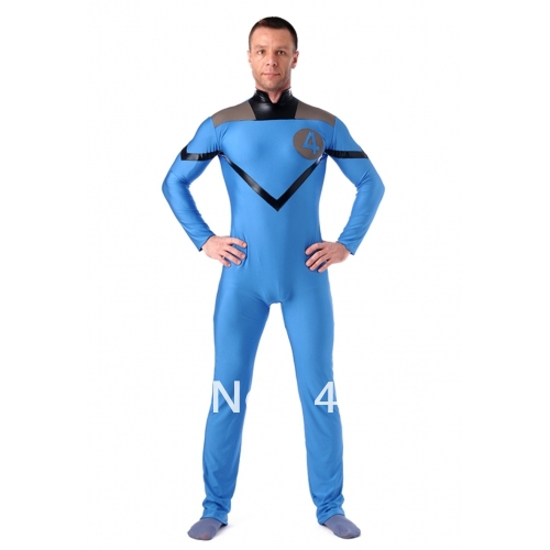 Male version of Sky Blue Fantastic Four costumes, spandex superhero Fantastic Four costumes, Halloween costumes
