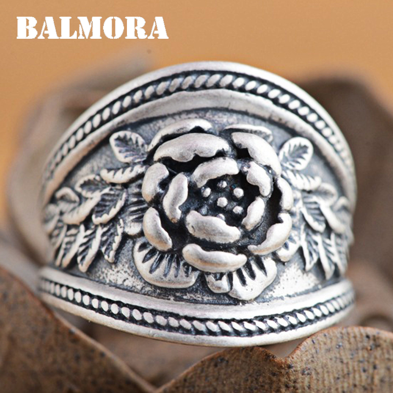 BALMORA 100% Real 990 Pure Silver Lotus Flower Rings for Women Mother Gift Thai Silver Ring Ethnic Jewelry US size 6-9 SY20980