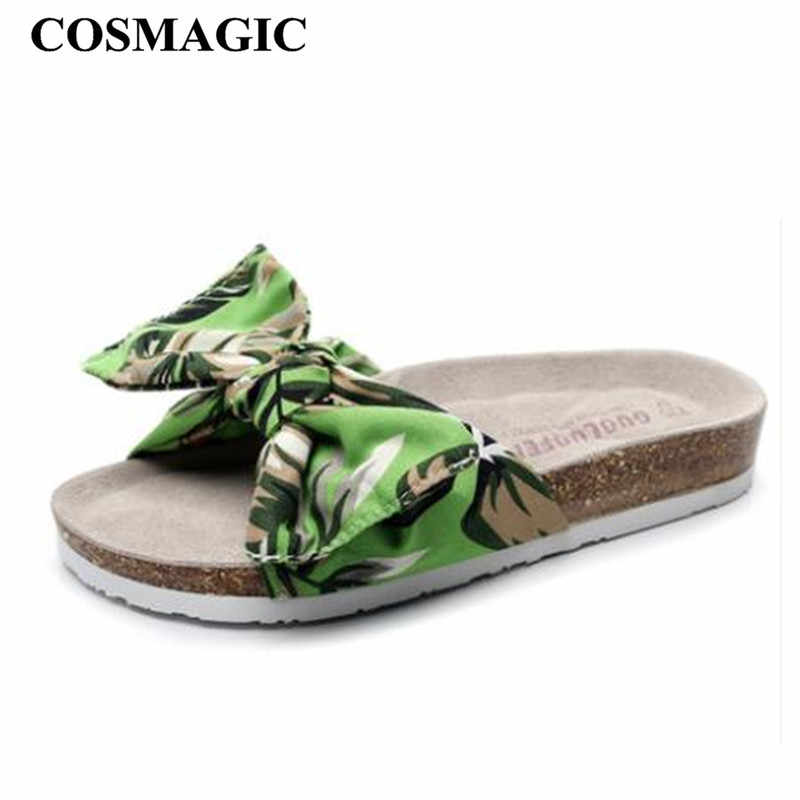 COSMAGIC 2019 New Summer Beach Cork Slippers Casual Women Printed Bowknot Clogs Slip on Slides Shoe