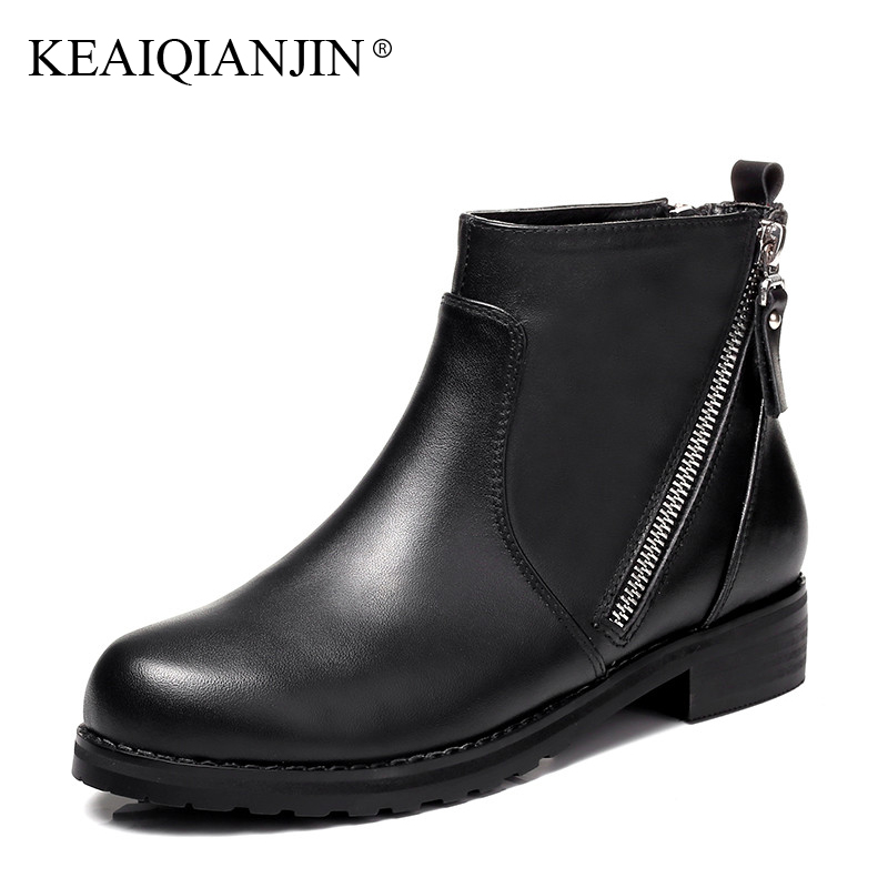 KEAIQIANJIN Woman Genuine Leather Martens Boots Zipper Black Plus Size 33 - 41 Autumn Winter Shoes Genuine Leather Ankle Boots keaiqianjin woman genuine leather martens boots black beige plus size 33 43 autumn winter shoes genuine leather ankle boots