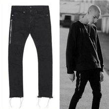 Newest TOP Oversized Terry Men Jeans Hiphop Four Two Four Broken Hole Side Zipper Jeans