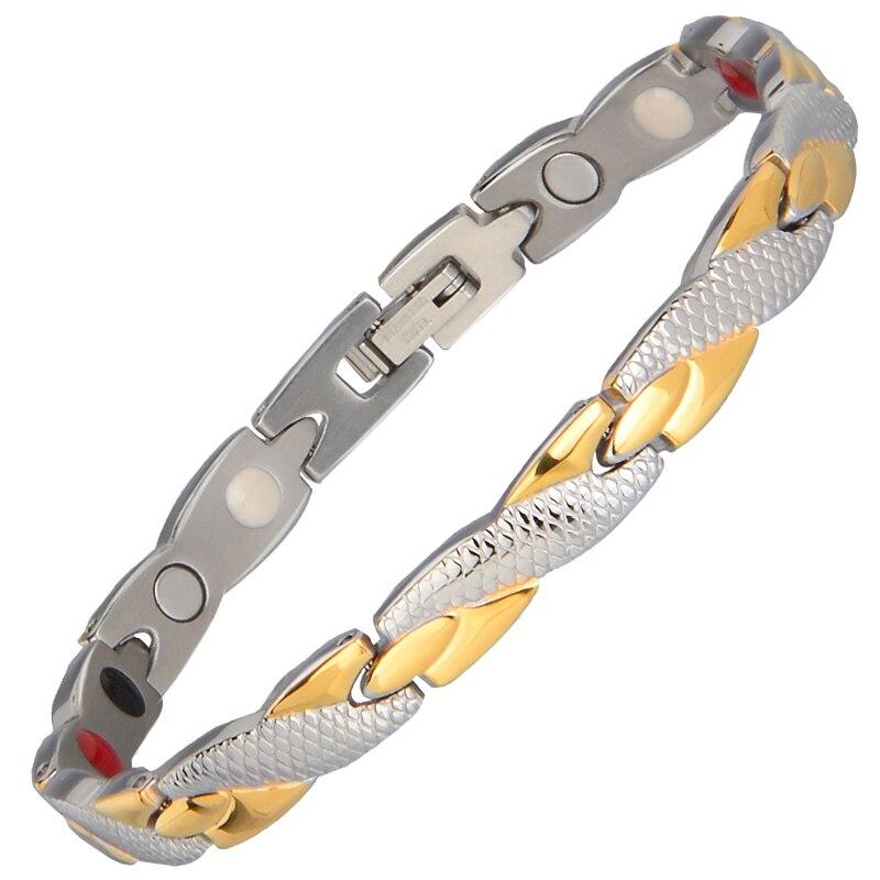 Énergie santé Magnétique Ion Germanium Bracelet Hommes Bracelets Hombre Chaîne Lien Bracelet En Acier Inoxydable Bracelet Femmes Hommes