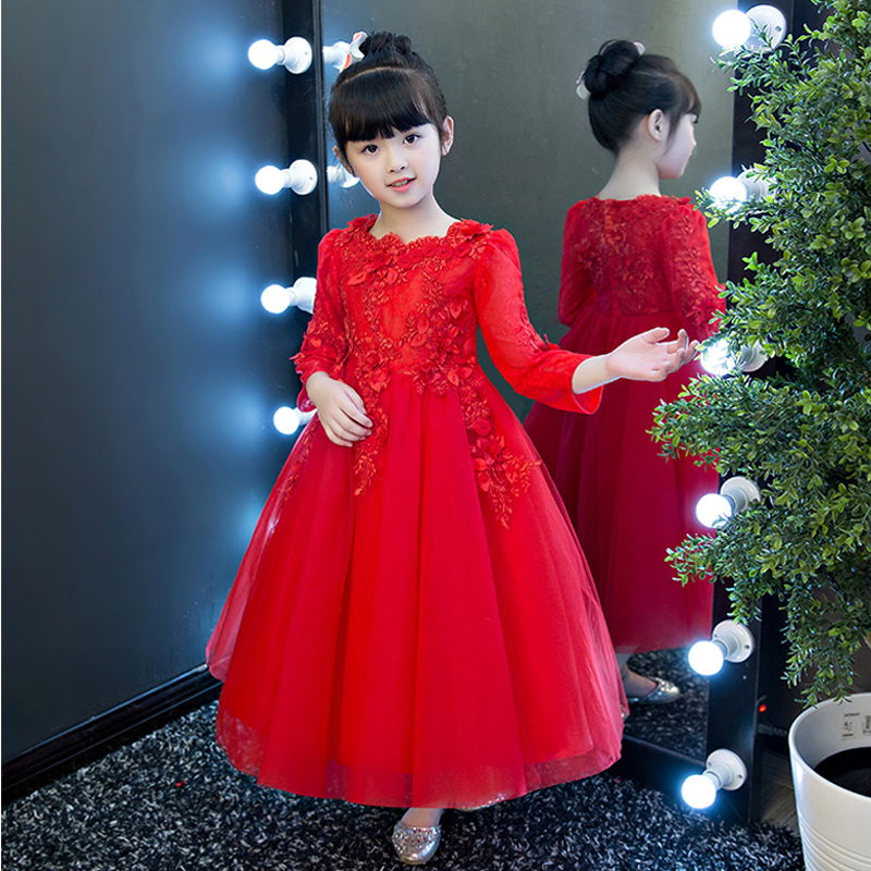 3-15yrs Girl Kids Red Color Embroidery Flowers Wedding Long Lace Dress Evening Party Princess Costume Lace Girls Clothes Dress girl dress princess autumn 2018 fashion flowers embroidery denim dress girls long sleeve turn down collar kids clothes b0659