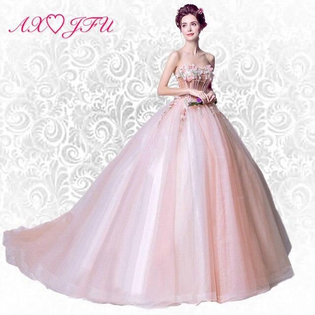 premium selection 640a3 4654f US $121.33 8% di SCONTO AXJFU Nebuloso prospettiva FATA colorato ROSA fiori  tridimensionali abito da sera, sposa coda di rosa del fiore del vestito da  ...