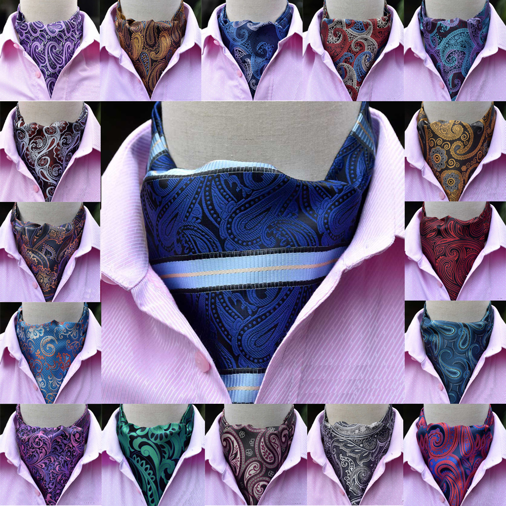 Men Formal Paisley Print Cravat Ascot Scarves Wedding Party High Grade Tie RSTIE0318