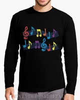 Winter Direct Selling Funny Long Sleeve T Shirts Mens Black Musical Notes Casual Long O Neck