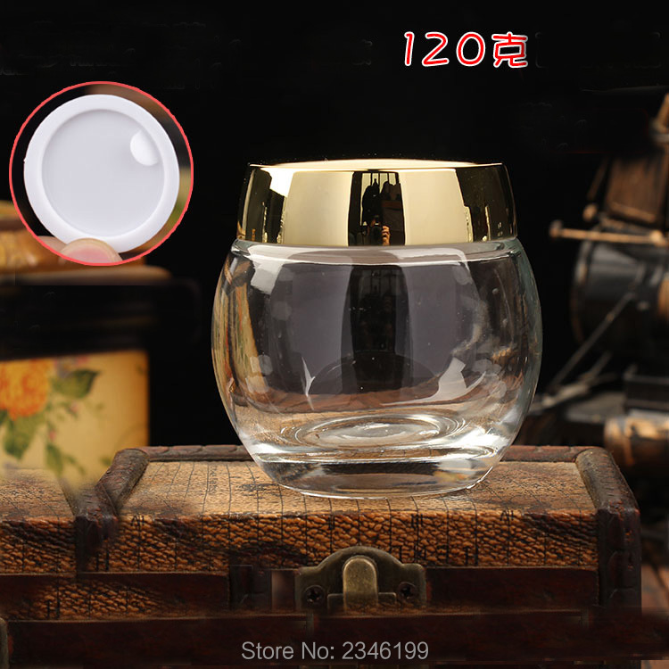 120G 120ML 5pcs/lot Top Grade Glass Cream Jar, Superior DIY Glass Cosmetic Mask Container, Elegant Silver Gold Cosmetic Box 500g cosmetic grade 99