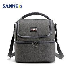 SANNE 7L двухэтажный охладитель сумки для обеда изолированные Твердые тепловой ланчбокс для еды сумка для пикника кулер сумки для мужчин и жен...
