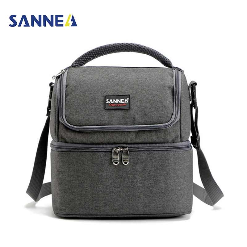 SANNE 7L Double Decker Cooler Lunch Bags Insulated Solid Thermal Lunchbox Food Picnic Bag Cooler Tote Handbags for Men Women sannen 7l double decker cooler lunch bags insulated solid thermal lunchbox food picnic bag cooler tote handbags for men women