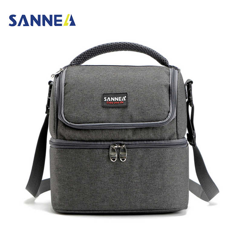 c73a64f1b94e SANNE 7L Double Decker Cooler Lunch Bags Insulated Solid Thermal Lunchbox  Food Picnic Bag Cooler Tote Handbags for Men Women
