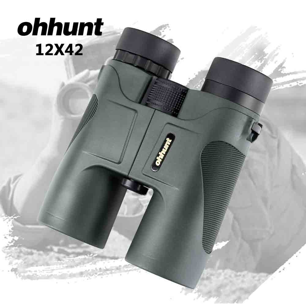 ohhunt 12X42 Binoculars PORRO Bak4 Prism Telescope Power Zoom Wide-angle Optics Waterproof Binoculars for Hunting Camping Hiking цена