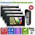 Homefong 7inch Intercom Monitor Wired Video Doorbell Camera 4V1 Video Door Phone Intercom System 4 Monitor and 1 Doorbell Unit