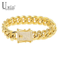 14mm Men S Hip Hop Cuban Miami Link Bracelet Iced Out Zircon Clasp Gold Silver Stainless