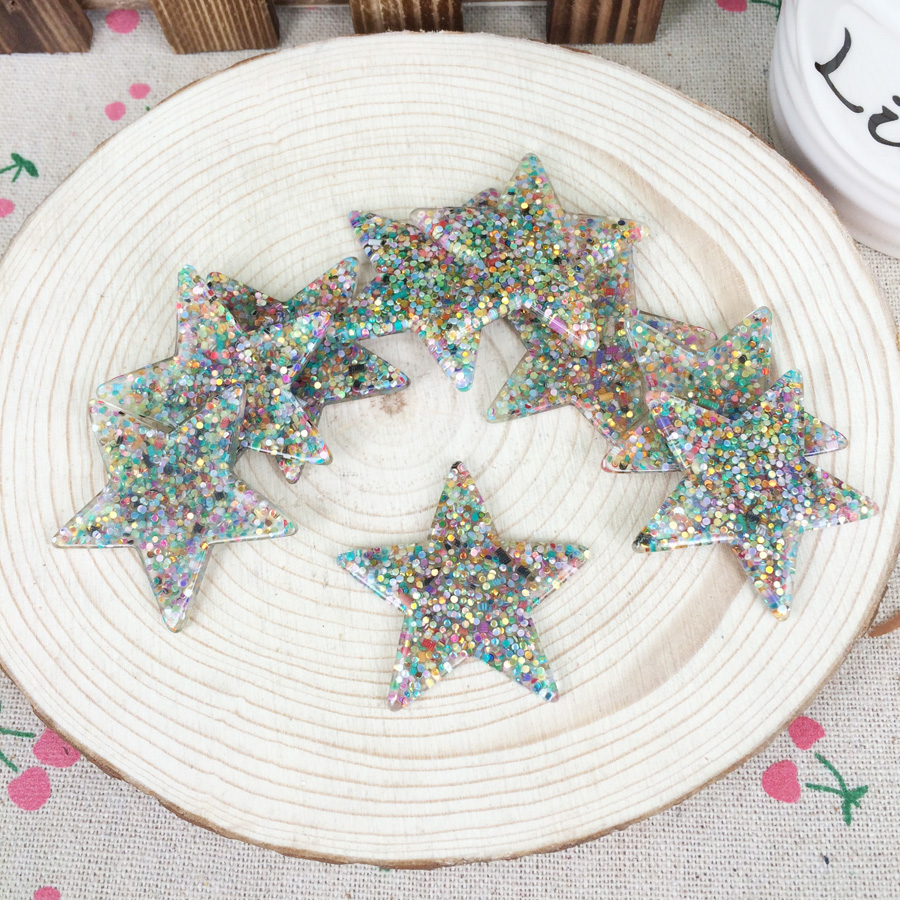 Kawaii Flatback DIY Multi Colors Star With Glitter Resin Cabochons Flat Back Decoration Hair Bow Embellishments:39mm
