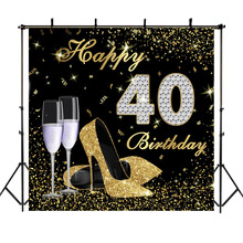 Happy 40th Birthday Backdrop High Heels Elegant Lady Photography Background Platinum Diamond Gold Glitter Sparkly Backdrops