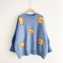 2019 New Sexy Women Autumn Winter Pullover And Sweaters Cartoon Darks Loose Sweaters Yellow Dark Cute Pull Jumpers Oversize Tops