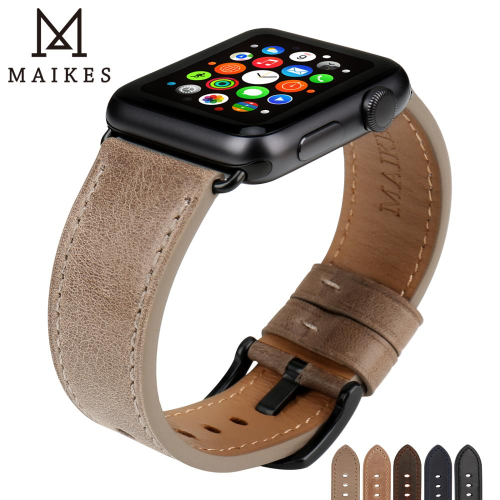 MAIKES font b Watch b font Accessories Genuine Leather For font b Apple b font font