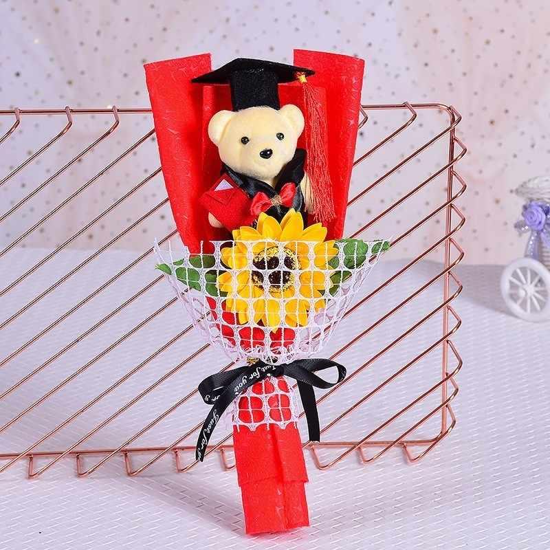 Hot Brinquedos de Pelúcia Teddy Bear Com Sabão Rosa Flor Bouquets Dos Desenhos Animados Ponto Presente Bichos de pelúcia Boneca Para Pós-graduação Estudante Graduado