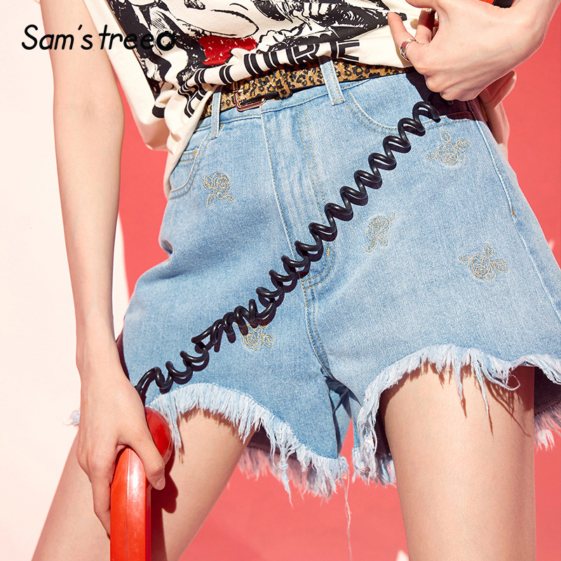 Samstree Sky Blue Embroidery Frayed Denim Shorts Casual Women Fashion 2019 Summer Hot Short Jeans Mid Waist Cotton Bottoms