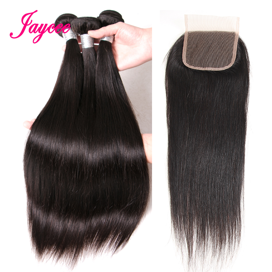 3 Bundles With Closure 4 Pieces Malaysian Straight Hair Bundles With Closure Free Part Remy Human Hair Closure With Bundles