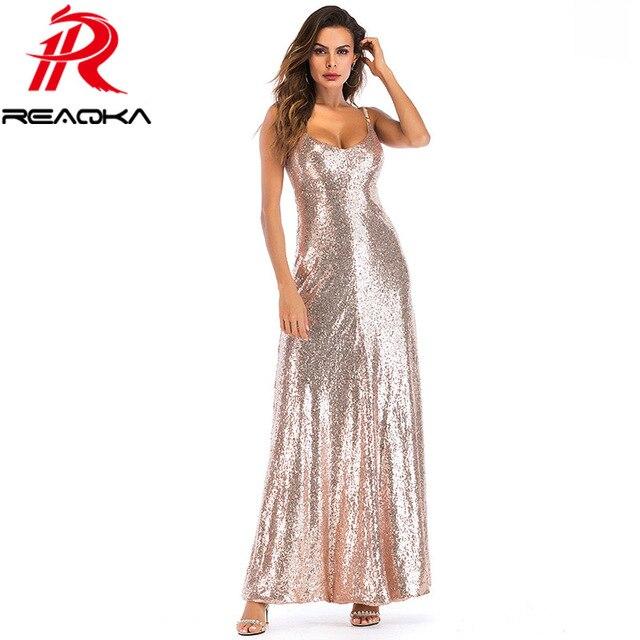 2018 New Summer Gold Sequin Maxi Dress Women Elegant Backless Sleeveless  Spaghetti Strap Sundress Sexy Evening 78aee3d48583