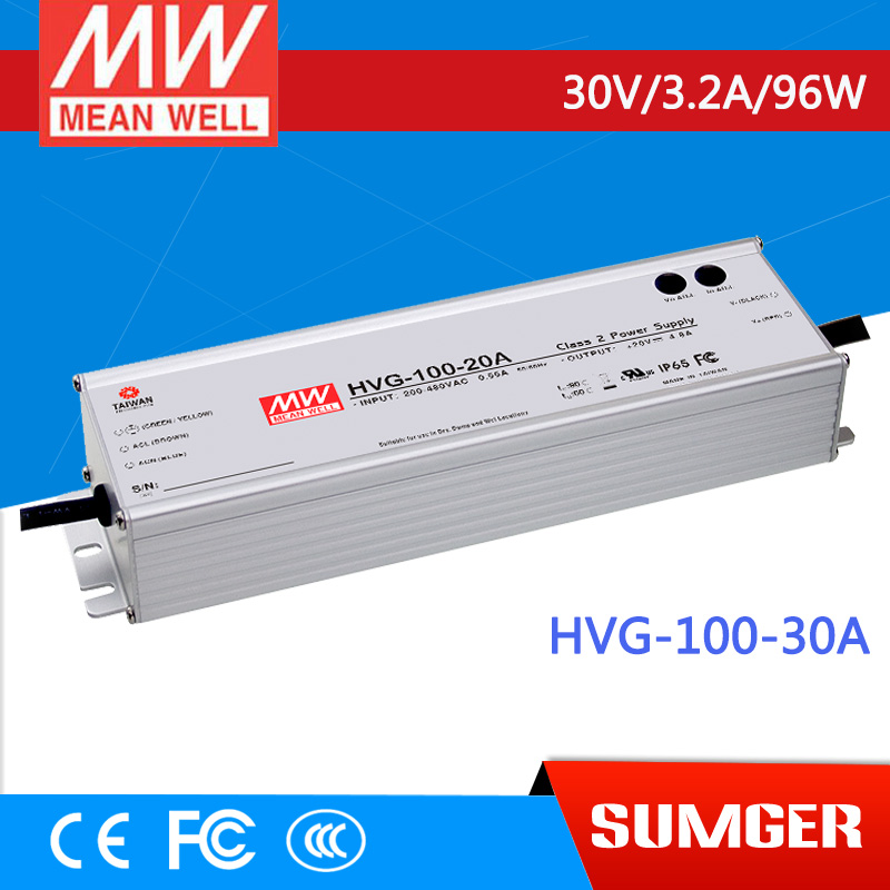 1MEAN WELL original HVG-100-30A 30V 3.2A meanwell HVG-100 30V 96W Single Output LED Driver Power Supply A type 1mean well original hvg 100 15a 15v 5a meanwell hvg 100 15v 75w single output led driver power supply a type