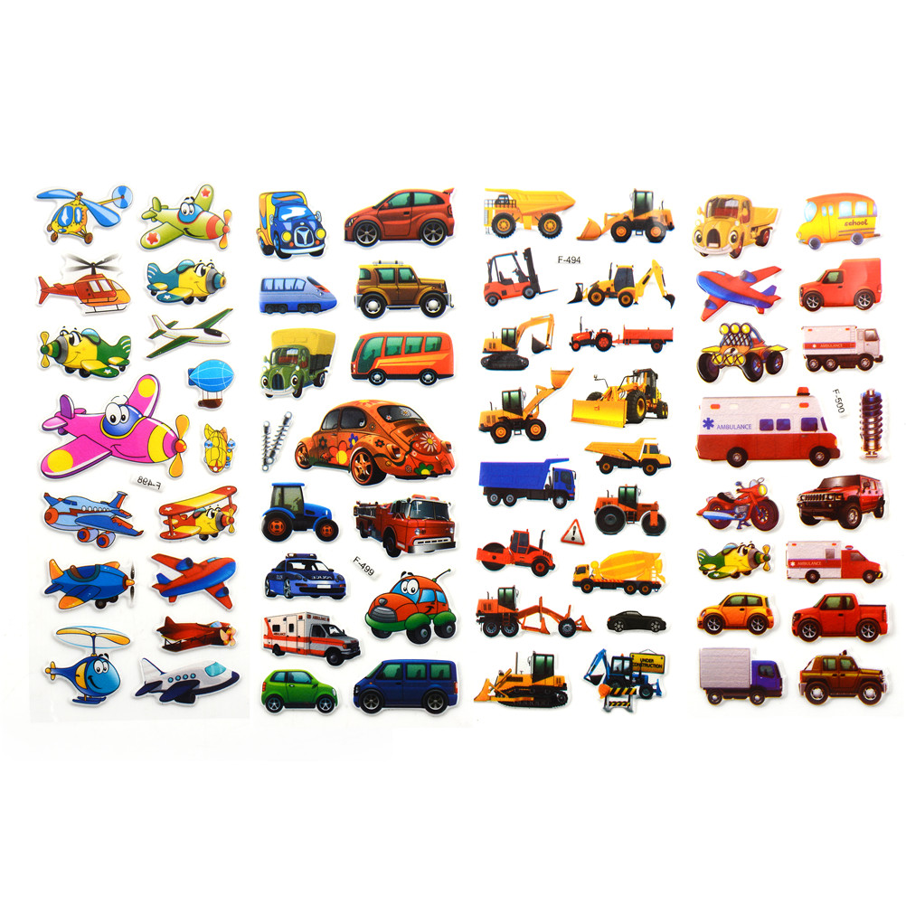 3D Cartoon Transport Cars Stickers Kids Classic Toys Bubble Sticker School Reward Gift For Diary Decoration  Scrapbooking 5pcs