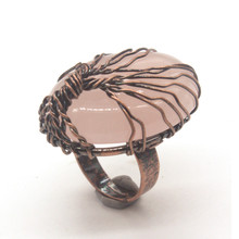 Trendy-beads Beautiful Copper Wire Wrap Natural Rose Pink Quartz Engagement Ring For Women Design Jewelry